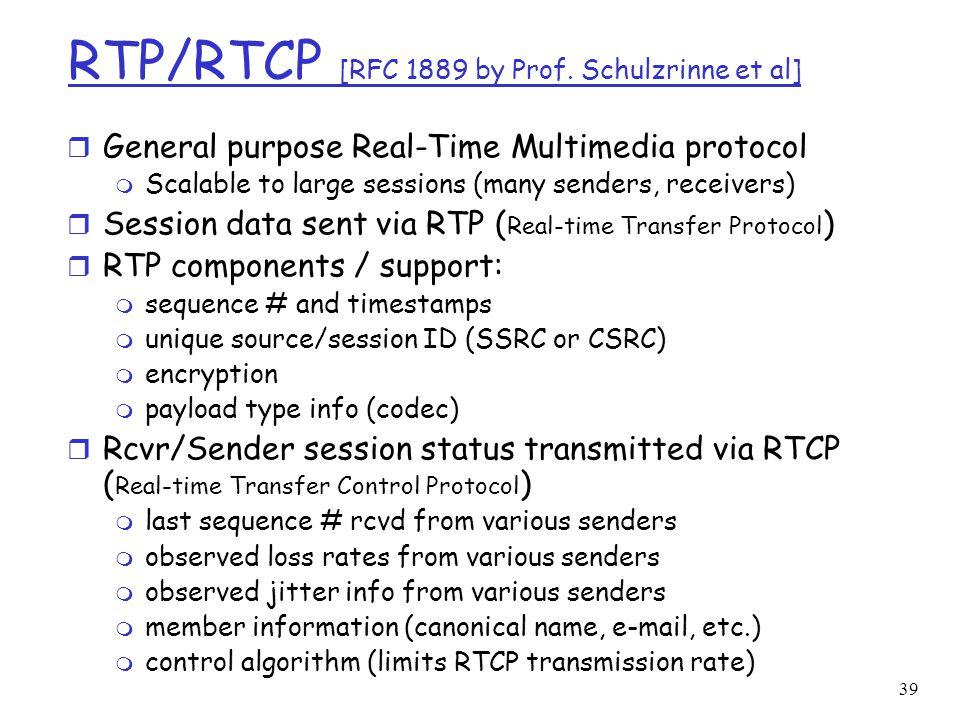 RTP/RTCP [RFC 1889 by Prof. Schulzrinne et al]